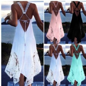 Sexy sleeveless A-line beach lace crochet dress